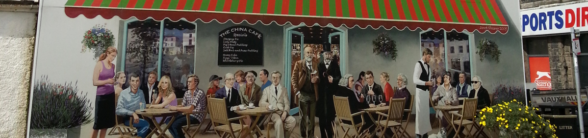 The China Cafe trompe l'oeil decorages a building in St Austell, Cornwall