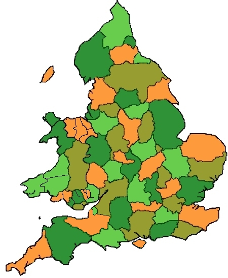 Clickable map of England