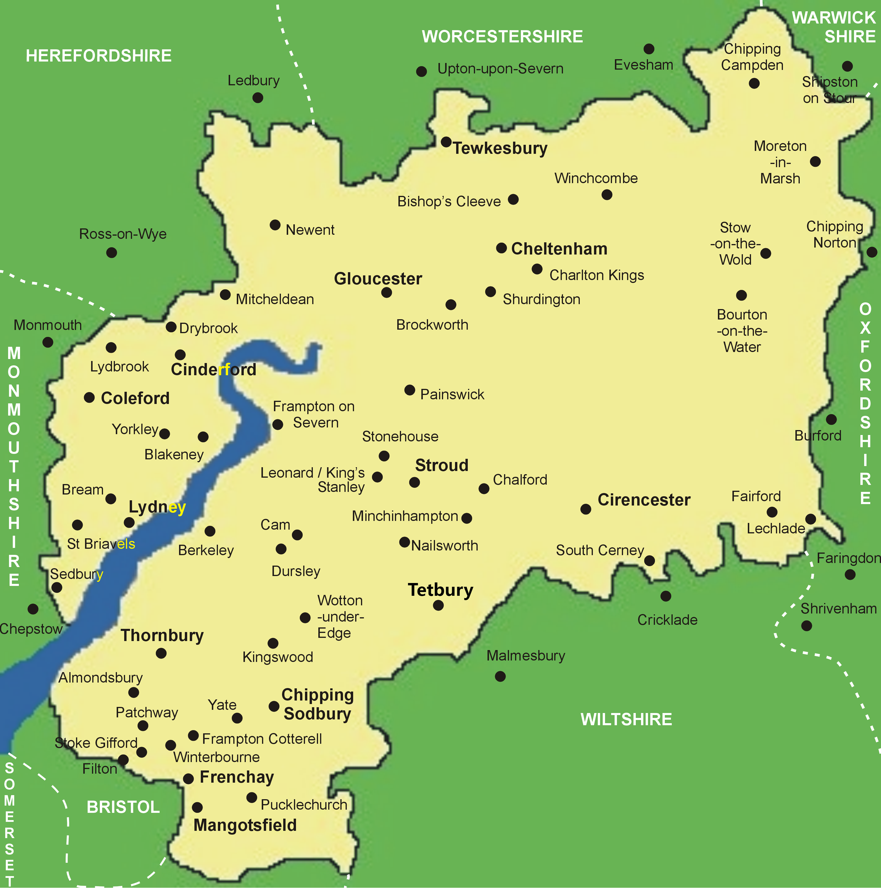 Clickable Map of Gloucestershire