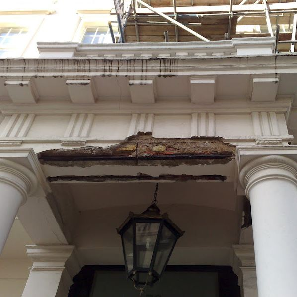 Damage to portico