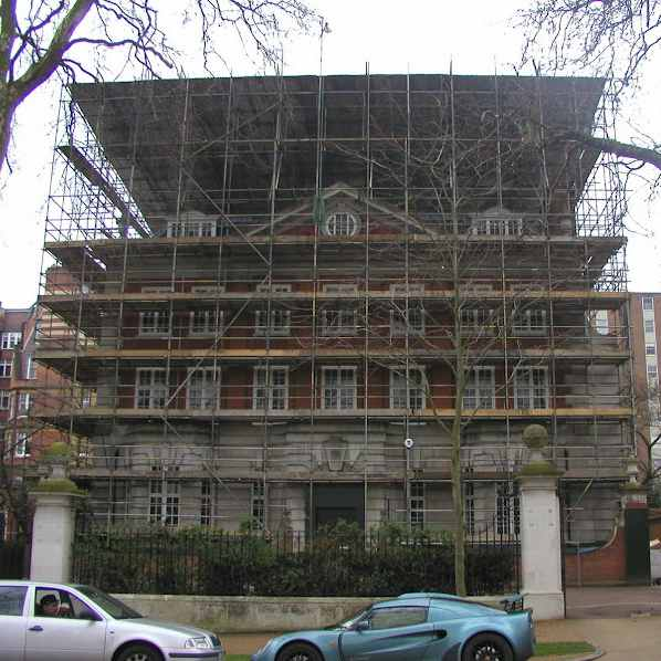 Property surrounded by scaffolding