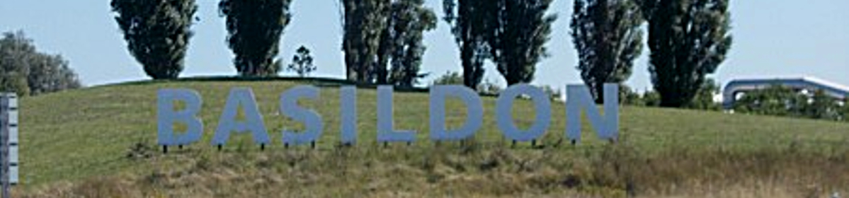 Sign welcoming visitors to Basildon in Essex