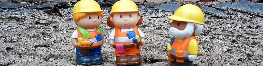 Builders on building site