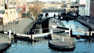 Picture of buildings on London's Camden Lock, near Charles Dance's local boozer