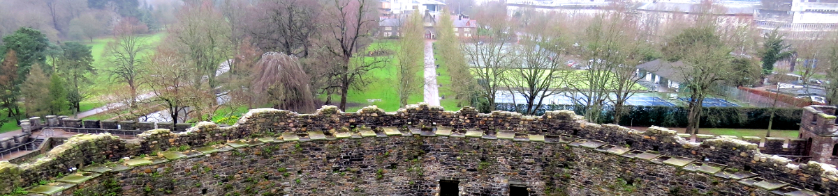 image taken from Cardiff Castle building overlooking Bute Park in Cardiff, Wales