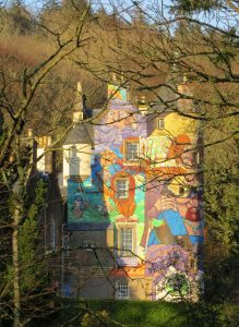 Kelburn Castle near Fairlie, Largs, Ayrshire, Scotland, a 16th century restored historic castle, painted with colourful graffiti