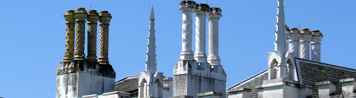 Ornate chimneys on building