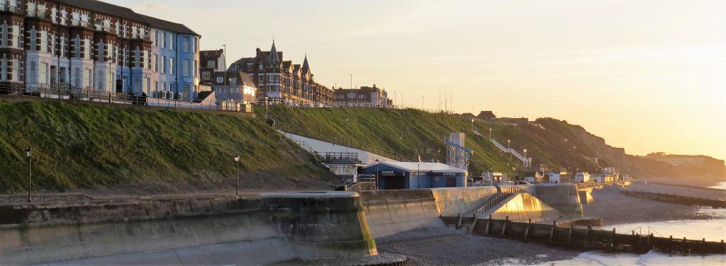 Impressive sea defences protecting coastal buildings at Cromer, Norfolk