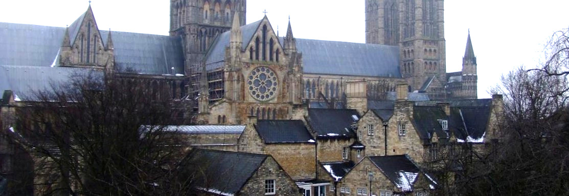 Buildings around Lincoln Cathedral in the Cathedral Quarter of Lincoln.