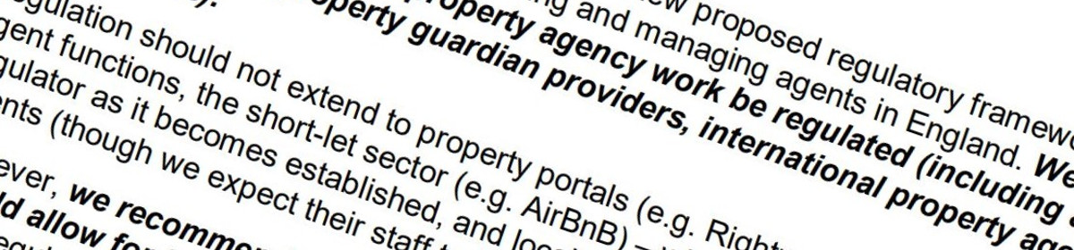 Extract from new Property Agent regulation report