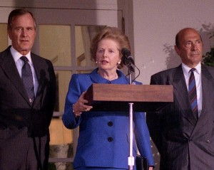 Mrs Thatcher visits George Bush Snr at the White House