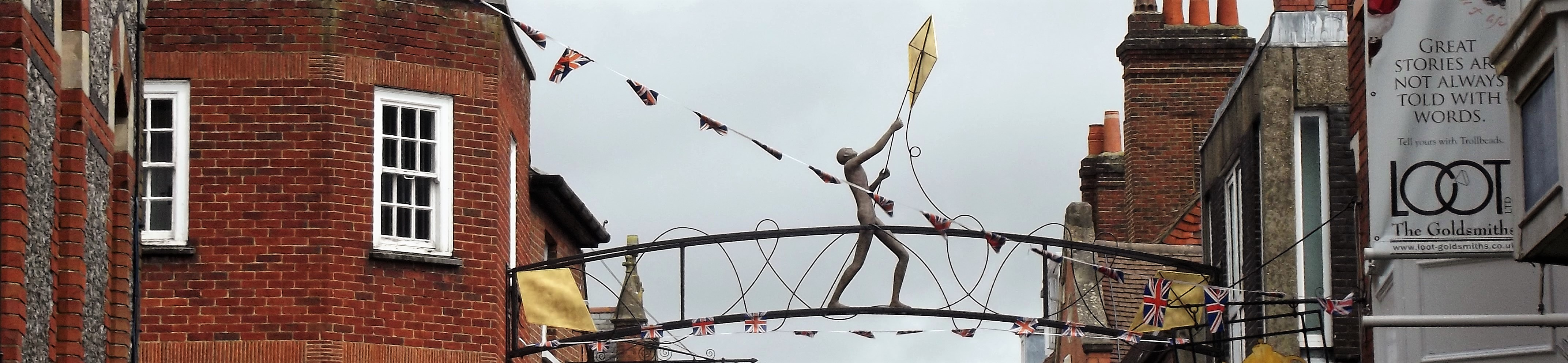 Winchester's Parchment Street is home to the city's famous landmark, the Kite Flyer, created by sculptor Marzia Colonna which stands nearly nearly six metres high.