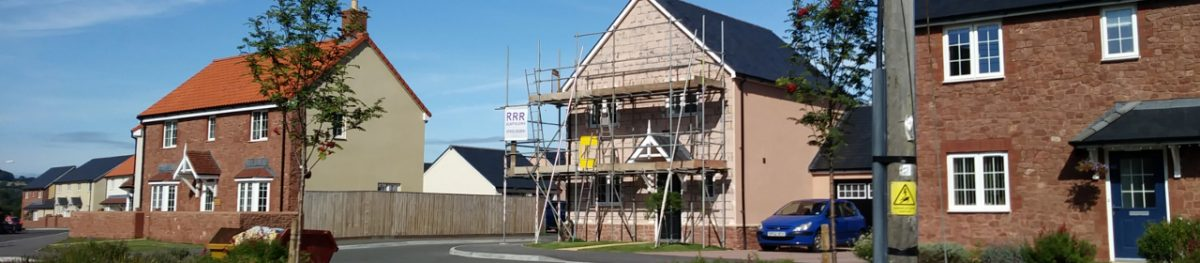 Newly built home being re-rendered