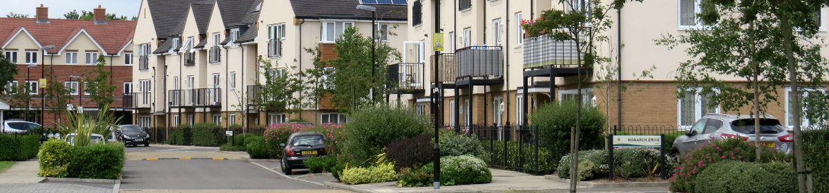 New housing estate with communal areas