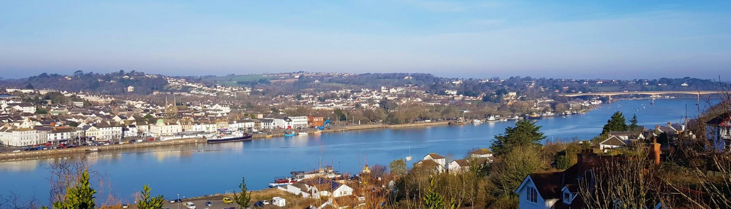 View over Bideford properties to the River Taw