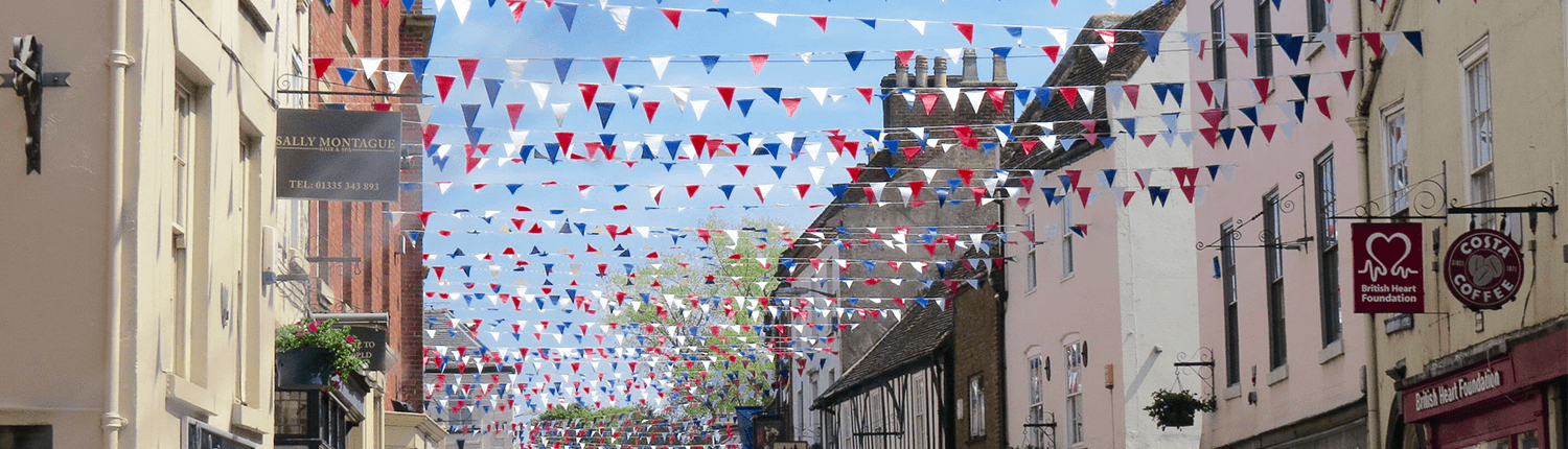 Ashbourne buildings and bunting