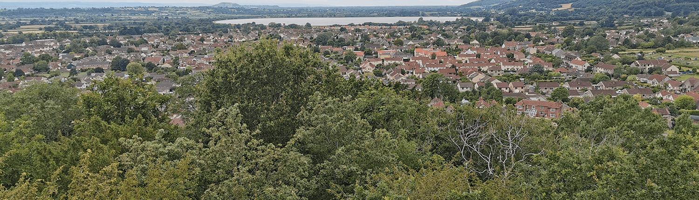 Cheddar housing with a backdrop of Cheddar reservoir.