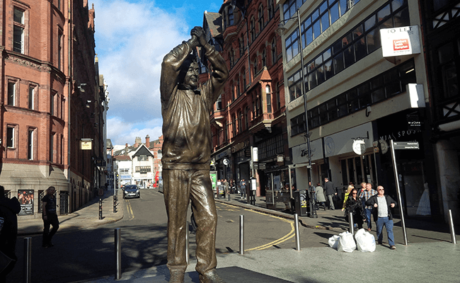The Brian Clough Statue in Nottingham City Centre